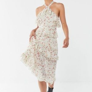 NWT UO Tiered Ruffle Cross-Back Midi Floral Dress